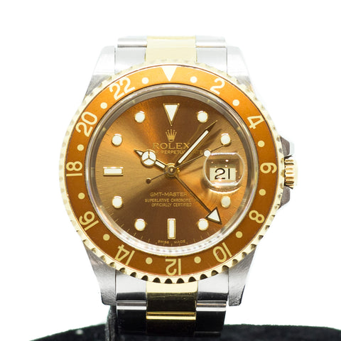 "Preowned Rolex GMT Master II Full Set Unpolished ""Root Beer"" 16713"