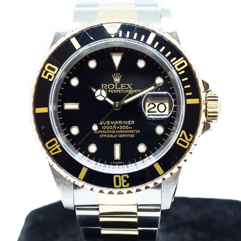 Preowned Rolex Submariner in Half Gold 16613LN
