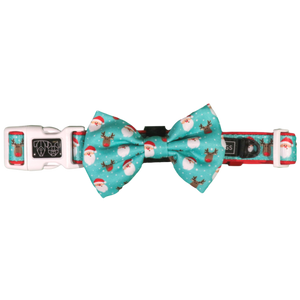 Big & Little Dogs Dog Collar & Bow Tie - Santa's Reindeers