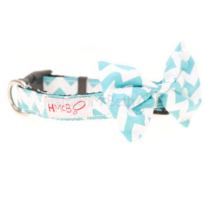 Hamish McBeth Bowtie Dog Collar - Green Chevron