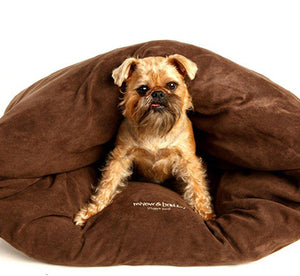 Miyow & Barkley Snuggle Pod Cat and Dog Bed - Microsuede - Dark Chocolate