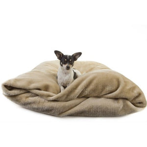 Miyow & Barkley Snuggle Pod Cat and Dog Bed - Gibbon Beige Faux Fur