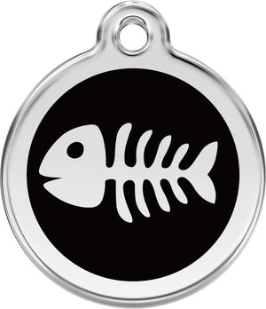 Red Dingo Enamel ID Tag - Fish Skeleton