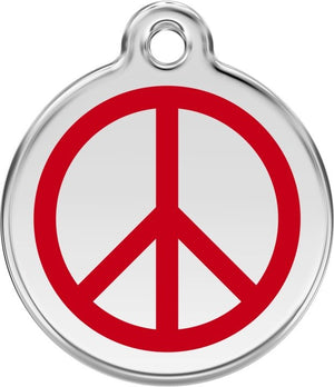 Red Dingo Enamel ID Tag - Peace