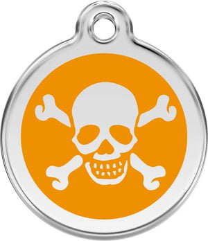 Red Dingo Enamel ID Tag - Skull & Crossbones