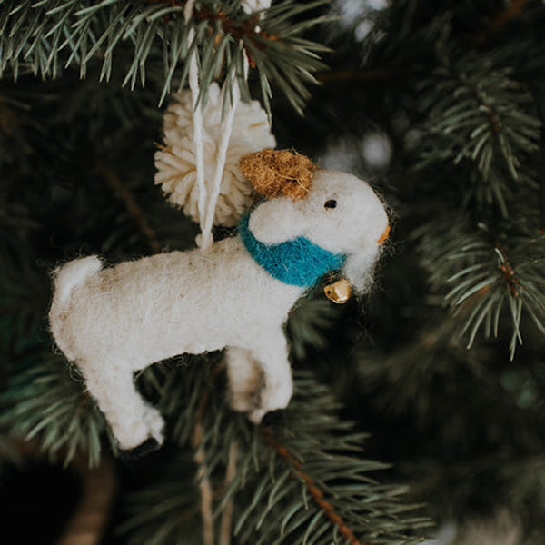 Felted Goat Ornament