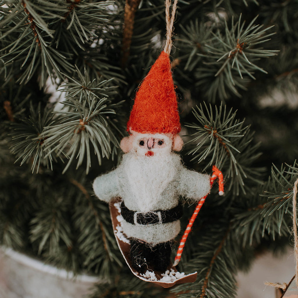 Felted Skiing Gnome Ornament