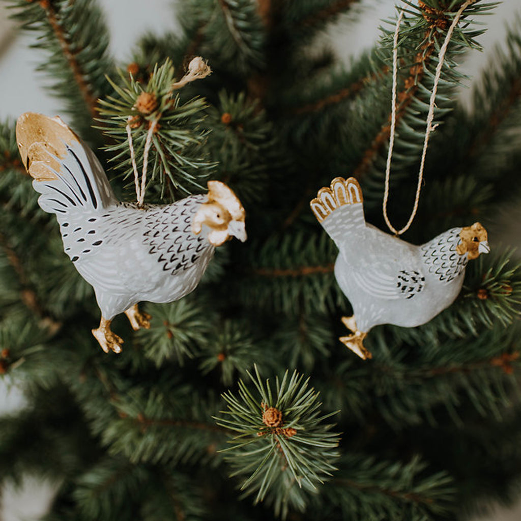 Grey & Gold Chicken Ornament