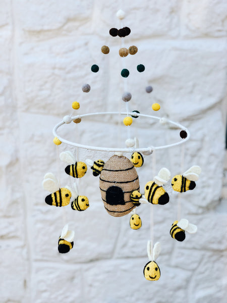 Bee Wool Felt Mobile