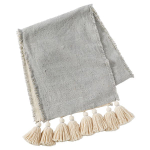 Gray Tassel Table Runner