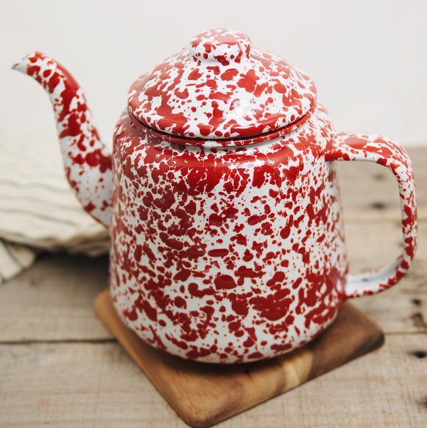 Enamelware Red & White Teapot