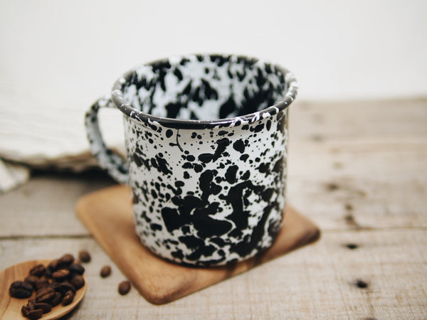 Enamelware Black & White Speckled Camp Mug