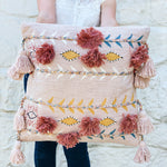 Pink & Mustard Embroidered Pillow