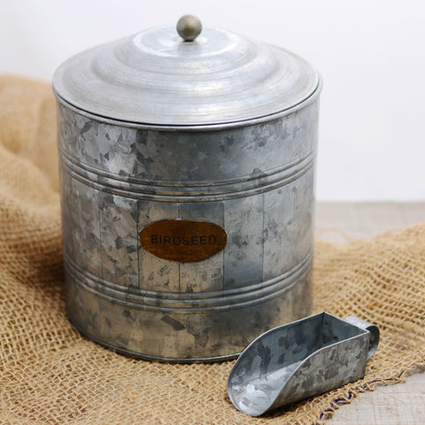 Galvanized Metal Bird Seed Canister and Scoop