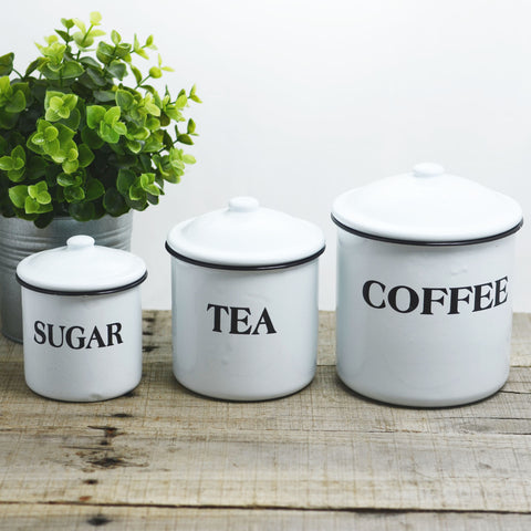 Coffee, Tea and Sugar Enamelware Canisters
