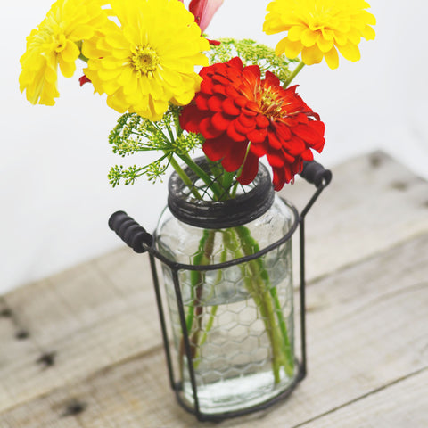 Glass Mason Jar Vase with Metal Frog Lid