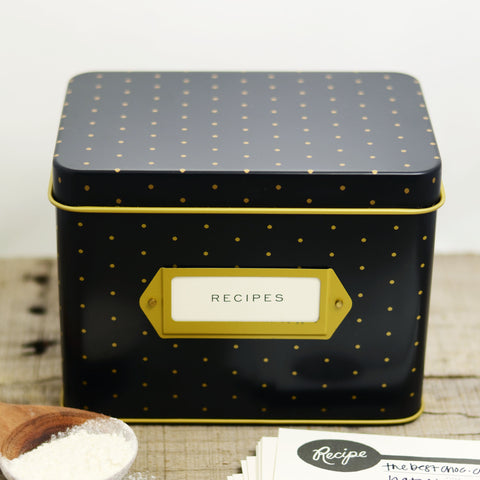Polka Dot Tin Recipe Box