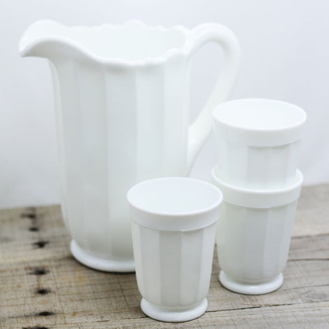 Milk Glass Scalloped Pitcher