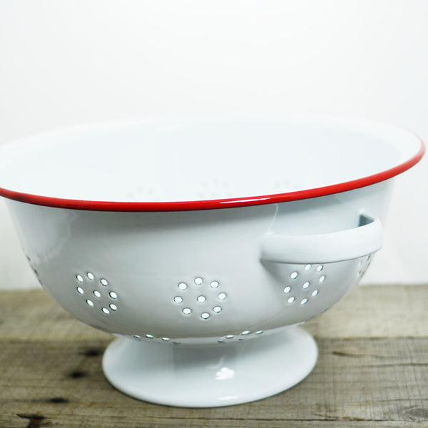 Red and White Enamelware Colander