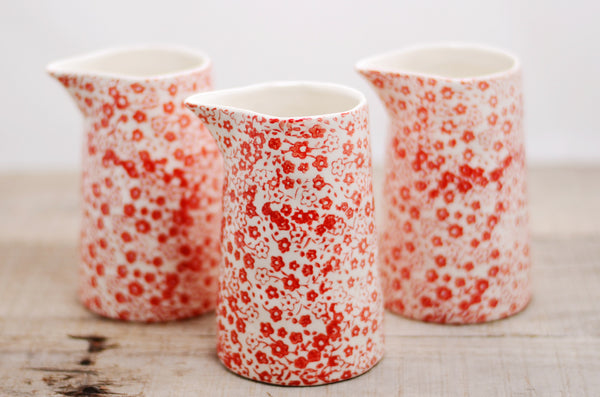 Red Floral Cream Pitcher