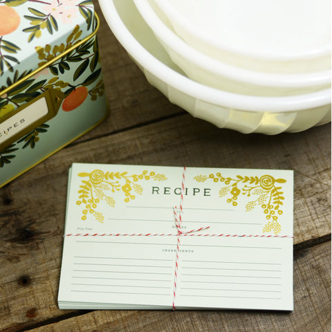 Gold Floral Recipe Cards