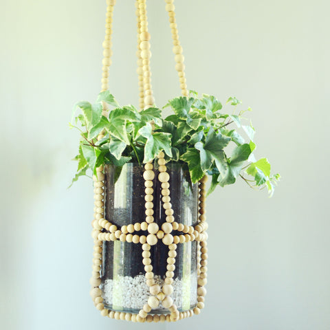 Natural Bead Hanging Planter
