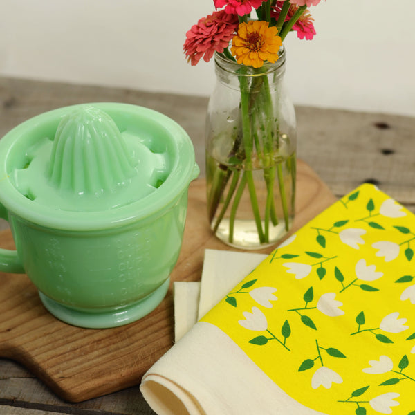 Yellow Floral Tea Towel