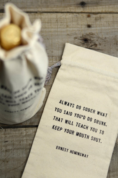 Canvas Wine Bag with Quote