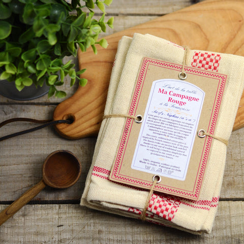 Set of Four Red Napkins