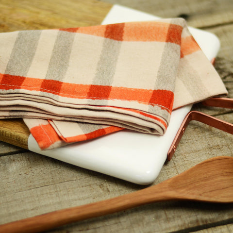 Orange Gingham Kitchen Tea Towel