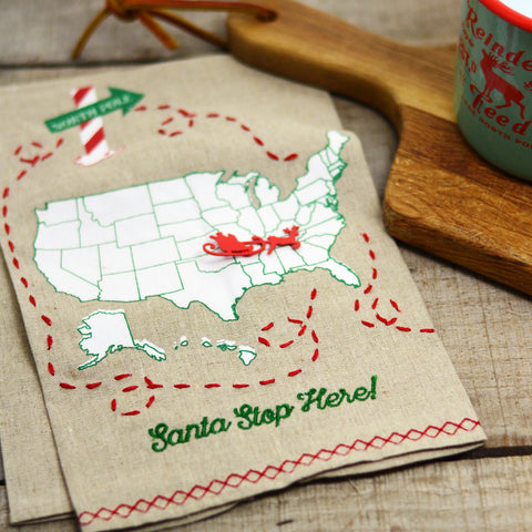 Santa Stops Here Tea Towel