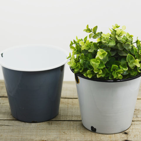 Enamel Flower Pot