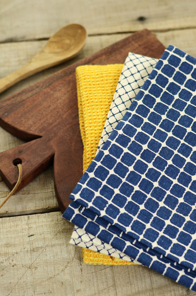 Navy & Mustard Yellow Tea Towel Set