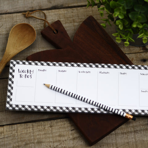 Gingham Weekly List Notepad
