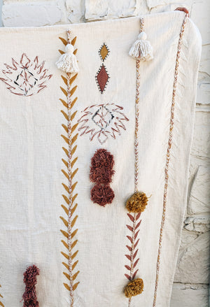 Embroidered Throw Blanket With Tassels