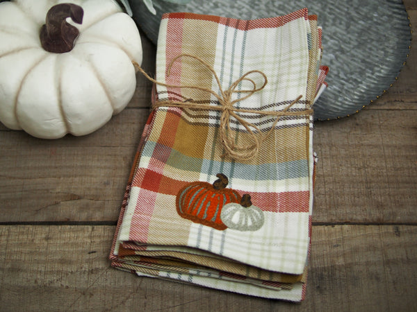 Plaid Pumpkin Napkin Set