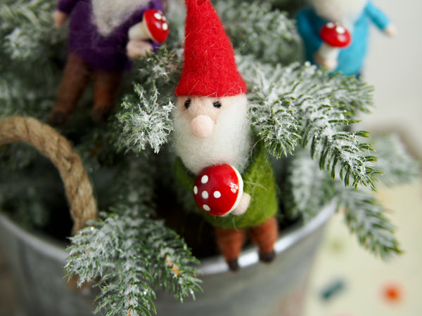 Felted Forest Gnome Ornament