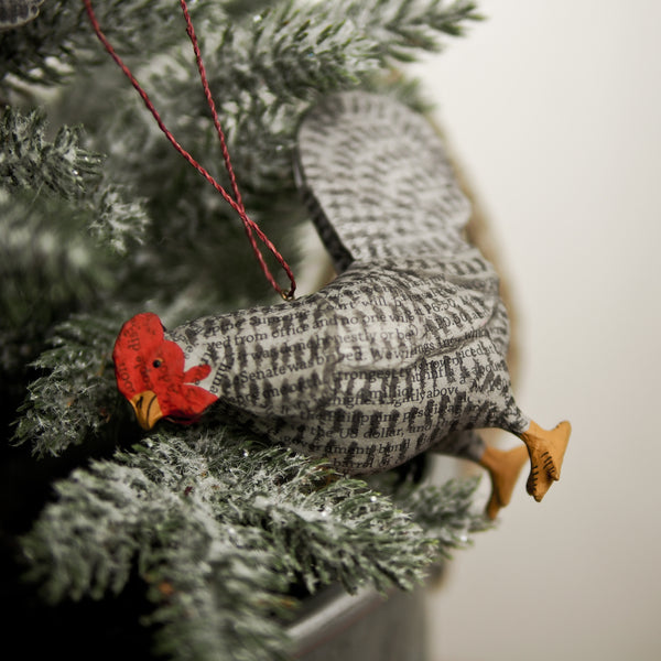 Newspaper Barnyard Chicken Ornament