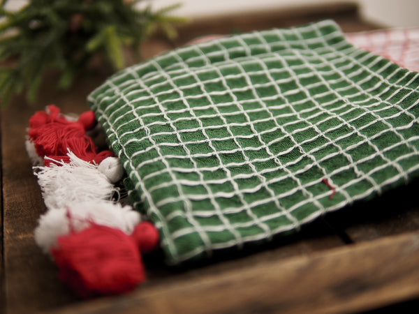 Red, White & Green Woven Dish Towels