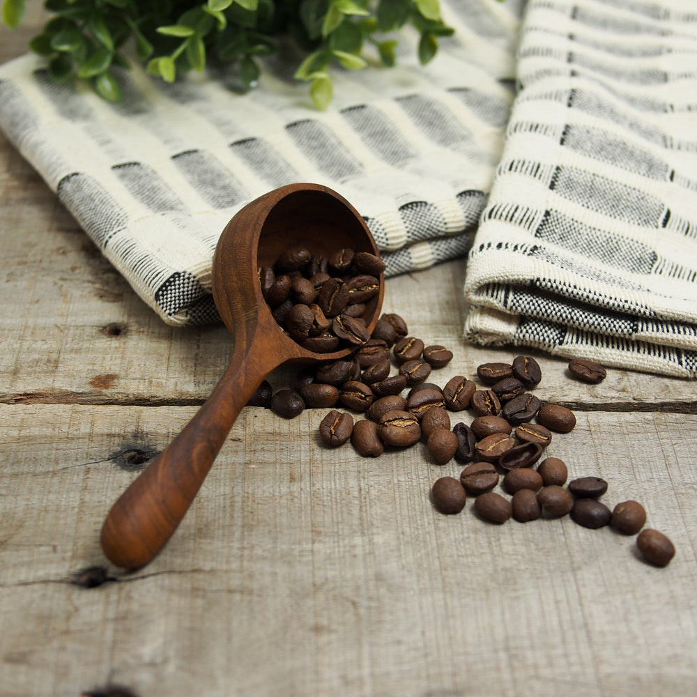 Round Teak Wood Coffee Scoop