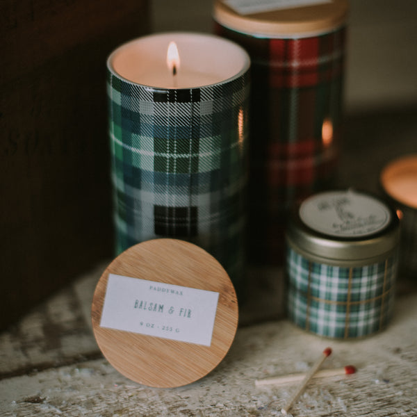 Plaid Winter Candle