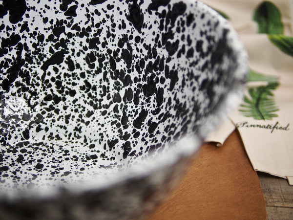 Black & White Enamelware Salad Bowl