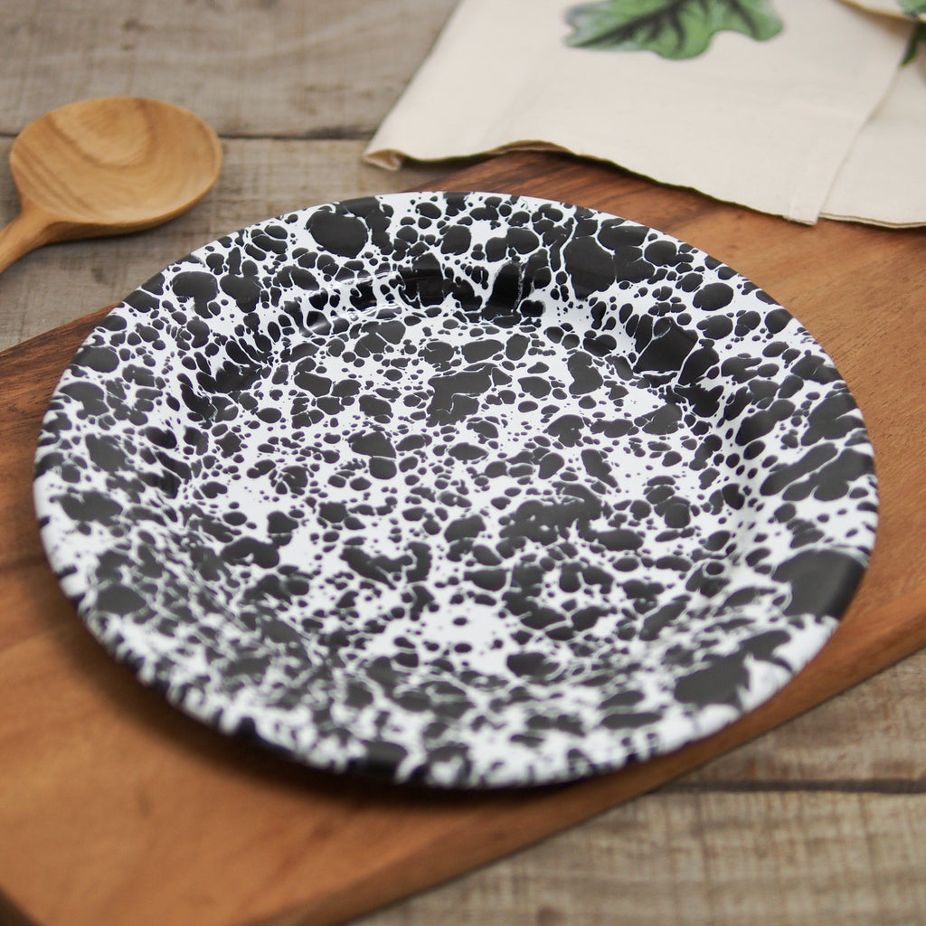 Enamelware Black & White Lunch Plate