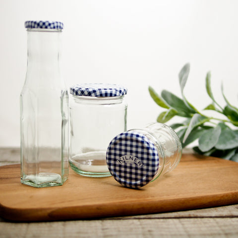 Blue Gingham Kilner Jar