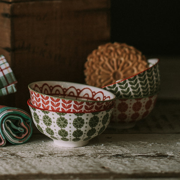 Red & Green Stoneware Bowls