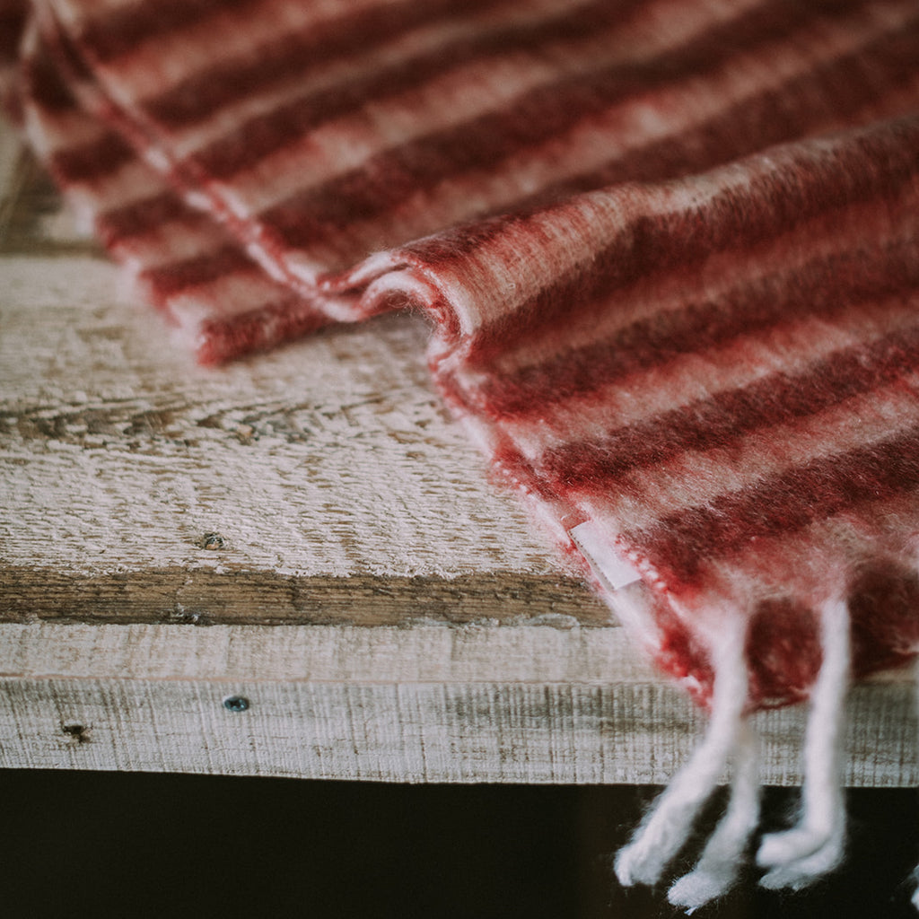 Red and White Mohair Table Runner