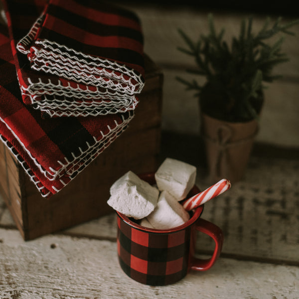 Ceramic Red & Black Buffalo Check Mug