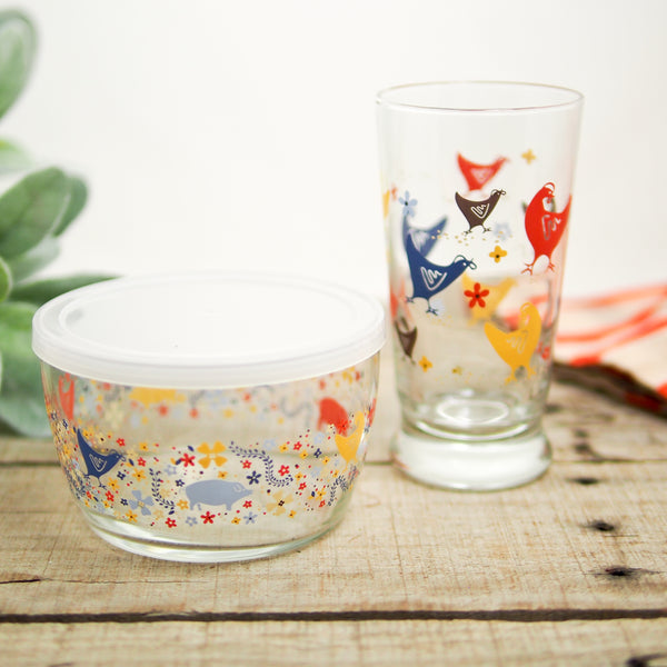 Floral Hen Drinking Glass & Lunch Container