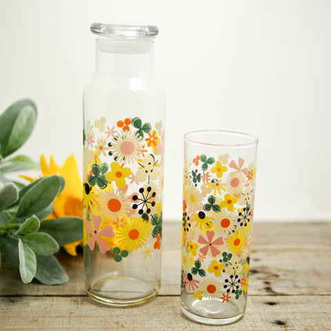 Floral Juice Bottle & Drinking Glass
