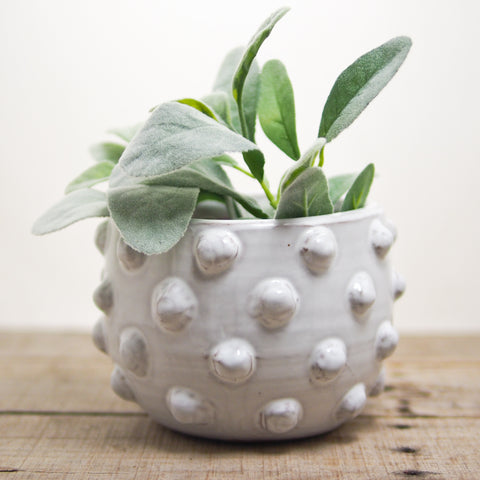 White Glazed Terra Cotta Pot
